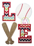 Baseball LOVE 2 (or Softball LOVE 2) Applique Design
