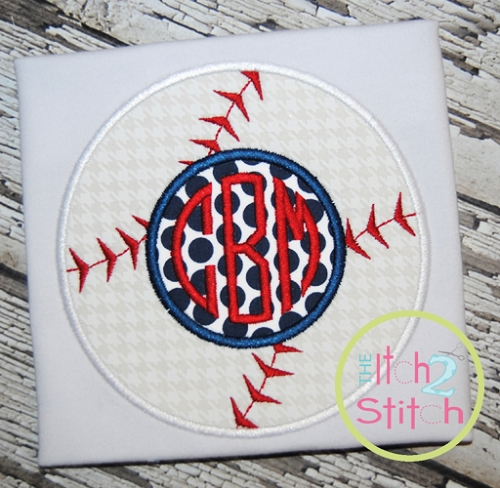 baseball monogram applique