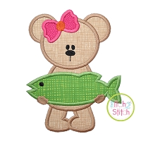 Big Fish Girly Bear Applique
