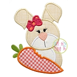 Easter Bunny Carrot Girl Applique