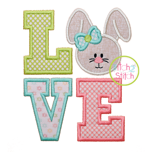 Bunny LOVE Applique