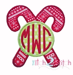 Double Christmas Candy Cane Monogram Applique Frame