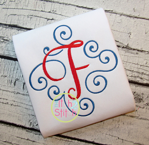 Elegant Scroll Two Color Large Monogram The Itch 2 Stitch