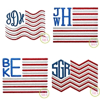 Monogram Flag Frame Embroidery Design Set