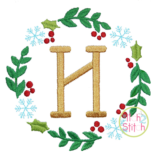 Holly Snowflake Monogram Frame Embroidery