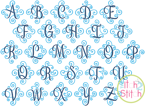 elegant scroll two color monogram