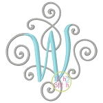 Elegant Scroll Two Color Small Monogram