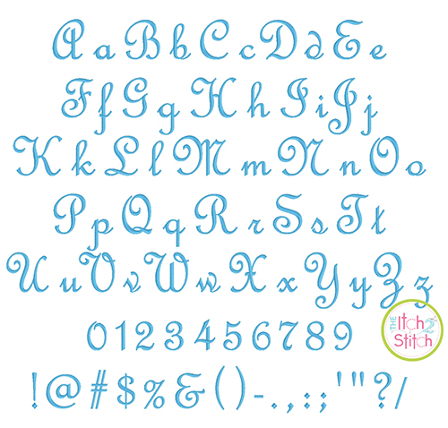 french script monogram embroidery font