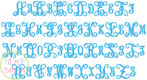 intertwined vine interlocking monogram embroidery font