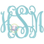 Jumbo Intertwined Vine Interlocking Embroidery Font