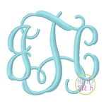 Intertwined Vine Interlocking SMALL Monogram Embroidery Font