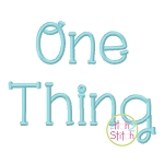 One Thing Embroidery Font