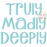Truly Madly Deeply Embroidery Font