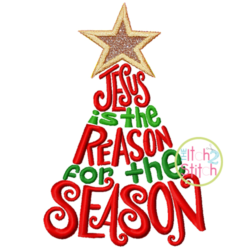Jesus is the Reason for the Season Tree Embroidery