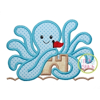 Octopus Sandcastle Applique