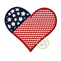 Patriotic Heart Applique