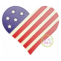 Patriotic Heart Sketch Embroidery