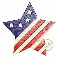 Patriotic Star Sketch Embroidery