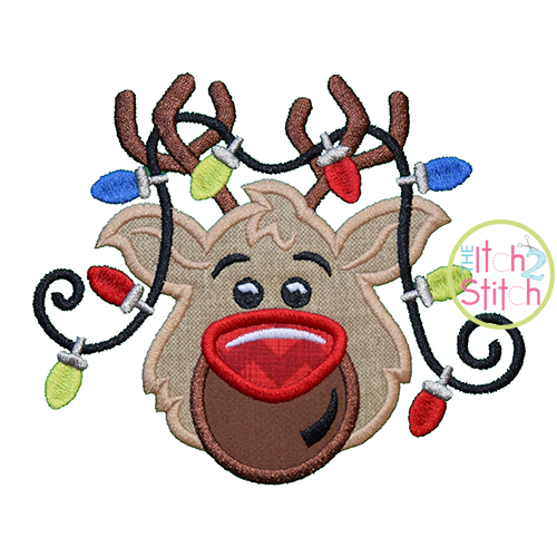Reindeer Head Lights Applique
