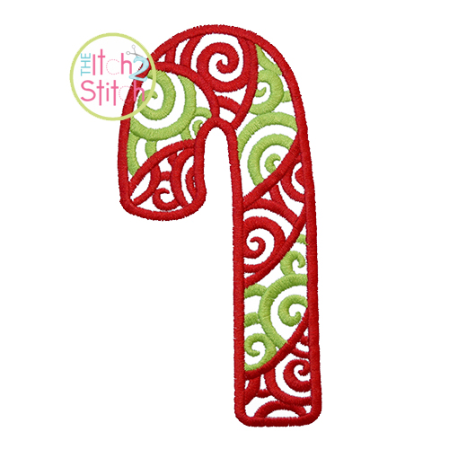 Scroll Candy Cane Embroidery
