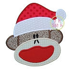 Sock Monkey Santa Applique
