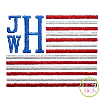 Stacked Serif Flag Frame Embroidery