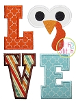 Turkey Face LOVE Applique