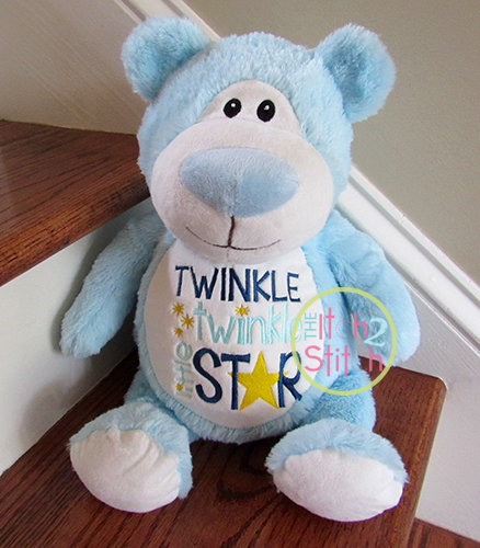 Sew on Applique Twinkle Twinkle Little Star Custom Machine Embroidered Iron