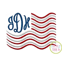 Wavy Monogram Flag Frame Embroidery
