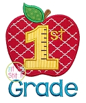 Apple School 1st Grade Number Applique