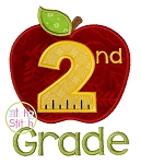 Apple School 2nd Grade Number Applique