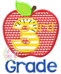 Apple School 3rd Grade Number Applique