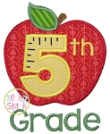 Apple School 5th Grade Number Applique