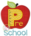 Apple Pre School Pre K Number Applique