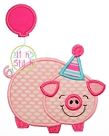 Birthday Pig Applique