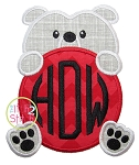 Bulldog Mascot Monogram Peeker Applique