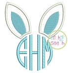 Bunny Ears Applique Monogram Frame (Font NOT included)