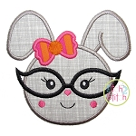 Bunny Glasses Girl Applique