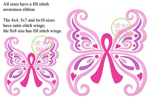Butterfly Awareness Ribbon Embroidery   The Itch 2 Stitch
