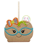 Candy Apple Glasses Girl Applique