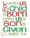 For Unto Us A Child Is Born Isaiah 9:6 Embroidery Design