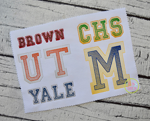 Double Varsity Sketch Embroidery Font | The Itch 2 Stitch