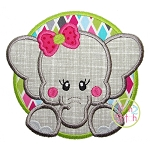 Elephant Circle Girl Applique