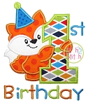 First Birthday Fox Applique