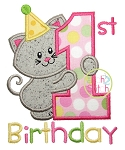 First Birthday Kitty Applique