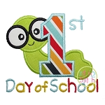 First School Day Worm Applique