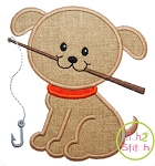 Fishing Puppy Applique