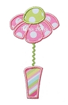 Flower Vase Applique Rick Rack Trim