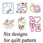 Girl Quilt Applique Designs for the All Stitched Up by Angela quilt