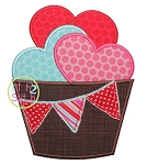 Hearts Barrel Pennant Applique